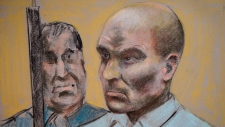Bertrand Charest is seen on a court drawing during a bail hearing, on March 16, 2015 in St-Jerome, Q