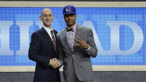 Washington's Markelle Fultz answers questions during an interview after being selected by the Philadelphia 76ers as the No. 1 pick overall during the NBA basketball draft in New York on Thursday, June 22, 2017. (AP / Frank Franklin II)