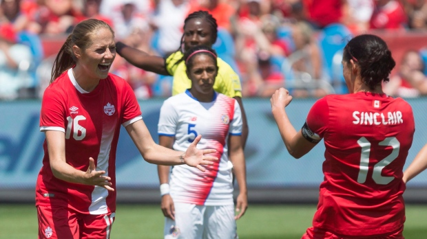 Canada's Janine Beckie (left) celebrates with Christine Sinclair after her third goal and her country's fourth as Costa Rica's Diana Saenz looks on during first half International women's soccer action action in Toronto on Sunday, June 11, 2017. (THE CANADIAN PRESS/Chris Young)