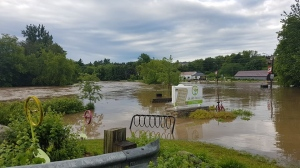 Residents in Grand Valley, Ont. say this is the worst flooding they've seen in 20 years. High water levels can be seen on Friday, June 23, 2017. (Steve Smalls)