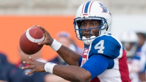 Montreal Alouettes quarterback Darian Durant fires a pass as they face the Saskatchewan Roughriders during first quarter CFL football action in Montreal on Thursday, June 22, 2017. THE CANADIAN PRESS/Paul Chiasson