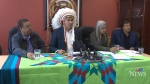 Churchill Mayor Michael Spence, Chief Betsy Kennedy of the War Lake First Nation and other northern Manitoba leaders hold a news conference on June 23. 2017.