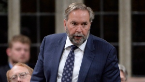 NDP Leader Tom Mulcair asks a question during question period in the House of Commons on Parliament Hill in Ottawa on Wednesday, June 21, 2017. (Adrian Wyld/The Canadian Press)