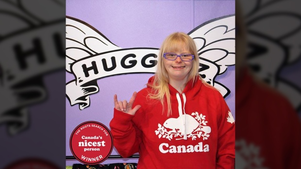 Angel Magnussen, who operates the non-profit Hugginz by Angel, has won Roots' Canada's Nicest Person contest. June 23, 2017. (Facebook)