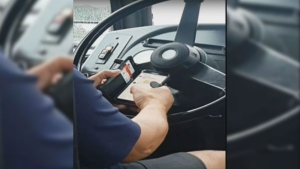The STM driver was caught on video texting and driving.