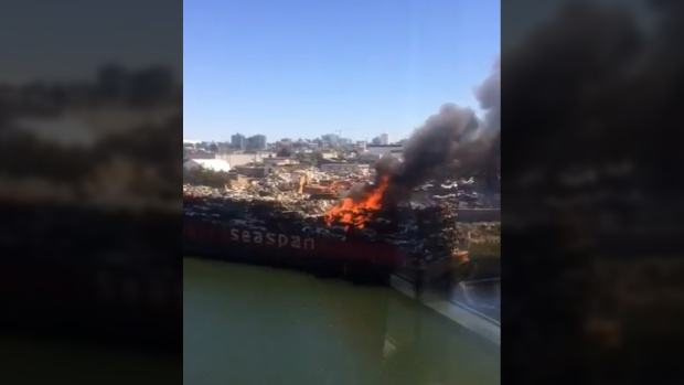 Auto barge on fire in Victoria's Gorge Waterway