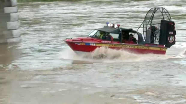 An air boat from the Cambridge fire department was used during a river rescue on the Grand River on June 23, 2017. (CTV Kitchener)
