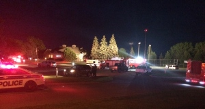 Emergency crews respond to a Hazmat call at the Amberwood Village Golf and Country Club. At least 13 people were exposed to a noxious chemical mixture.