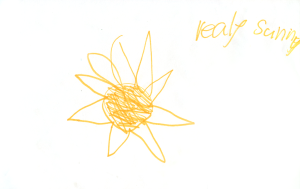 Weather art by Lola, age 4.