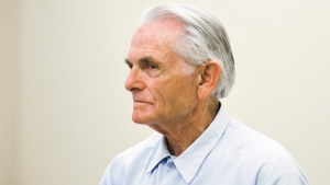 FILE - In this Oct. 4, 2012, file photo, Bruce Davis, a Charles Manson follower and convicted killer, waits moments before the start of his parole hearing at the California Men's Colony in San Luis Obispo, Calif. (Joe Johnston/The Tribune (of San Luis Obispo) via AP, File)