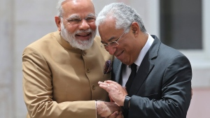 India's Prime Minister Narendra Modi, left and Portuguese Prime Minister Antonio Costa shake hands at the Necessidades Palace, the Portuguese Foreign Ministry in Lisbon, Portugal, Saturday June 24, 2017. Modi is on a one day visit to Portugal. (AP Photo/Armando Franca)