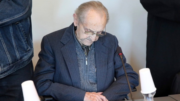 FILE - In this Sept. 12, 2016 file photo Hubert Zafke sits in a courtroom ahead of his trial in Neubrandenburg, eastern Germany. (Bernd Wuestneck/dpa via AP,file)