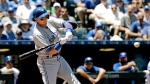 Toronto Blue Jays' Troy Tulowitzki hits a solo home run during the second inning of a baseball game against the Kansas City Royals Saturday, June 24, 2017, in Kansas City, Mo. (AP Photo/Charlie Riedel)