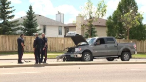 Edmonton police on scene at a multi-vehicle collision in the area of 153 Avenue and 59A Street on Saturday, June 24, 2017.