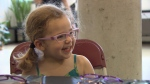 Scarlett's mom is on maternity leave, and said it would've been tough to afford a new pair glasses for her daughter who needs to wear them after having eye surgery. (CTV)