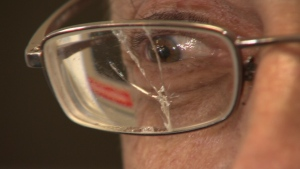 John Fleck has been walking around with broken lenses since last week. He's on a disability pension, and couldn't afford to buy new ones. (CTV)