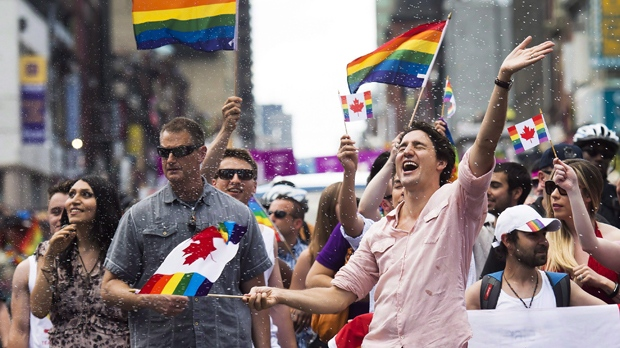 Justin Trudeau couldn't contain his glee while marching in a Pride parade