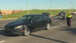 EPS on the scene of a collision involving a car and a bicycle towing a cart on Gateway Boulevard on Saturday, June 24, 2017.