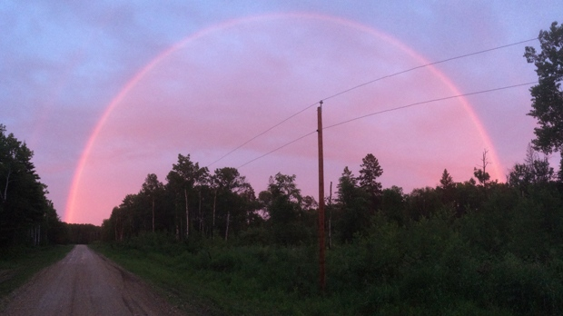 Rainbow over Marchand, MB. Photo by Brad Holmes.