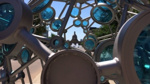 A stainless steel and glass sculpture, entitled Transect, has been installed on Capital Boulevard, north of the Alberta Legislature.