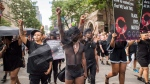 People from the Blacks Lives Matter movement march during the Pride parade in Toronto, Sunday, June 25, 2017. (THE CANADIAN PRESS/Mark Blinch)