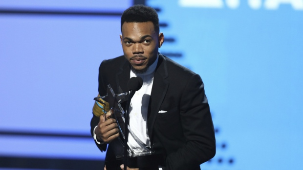 Chance The Rapper accepts the humanitarian award at the BET Awards at the Microsoft Theater in Los Angeles on Sunday, June 25, 2017. (Matt Sayles / Invision)