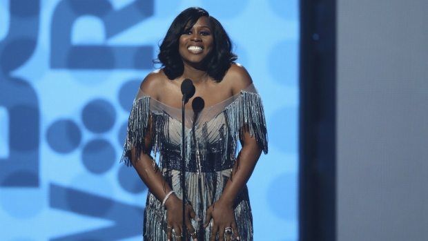 Remy Ma speaks at the BET Awards at the Microsoft Theater in Los Angeles on Sunday, June 25, 2017. (Matt Sayles / Invision)