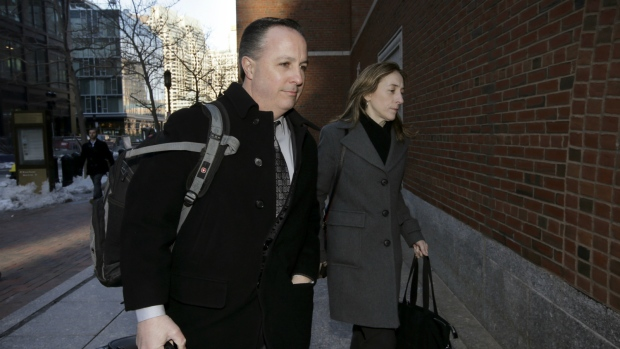 Barry Cadden, centre, arrives at the federal courthouse in Boston, before scheduled closing arguments in his trial on March 16, 2017. (AP / Steven Senne)