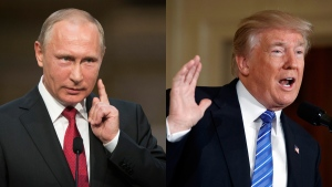 Russian President Vladimir Putin, left, and U.S. President Donald Trump are seen in a composite photo. (AP/Alexander Zemlianichenko/Evan Vucci)