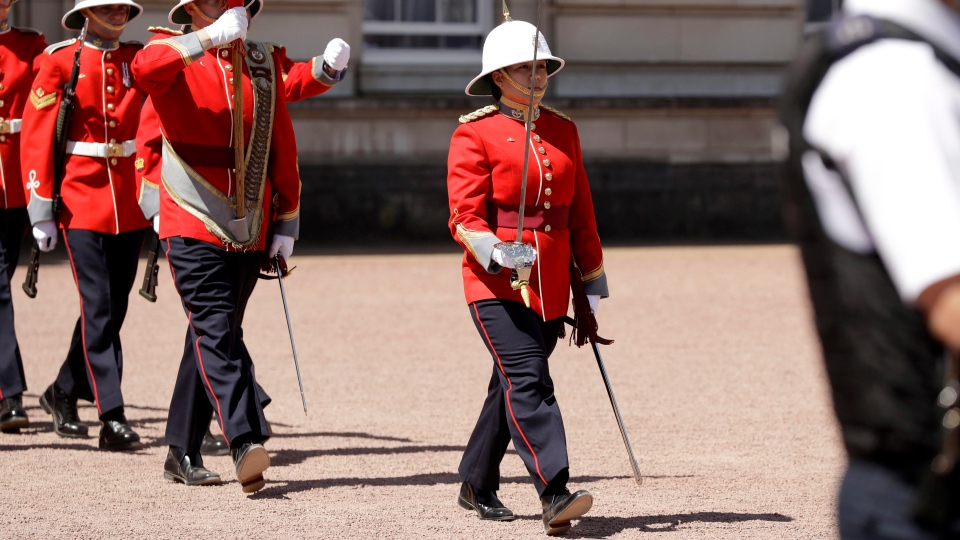 Canadian Captain Megan Couto takes part in the Changing the Guard ceremony at Buckingham Palace in London, Monday, June 26, 2017. (Matt Dunham/AP)