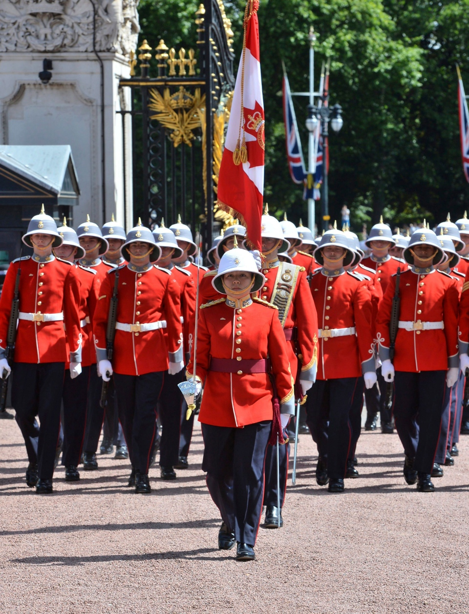 Couto and her unit, the 2nd Battalion, Princess Patricia's Canadian Light Infantry took part in the ceremony to coincide with the 150th anniversary of Canada. (John Stillwell/Pool via AP)