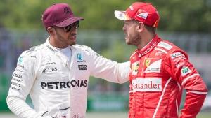 Mercedes driver Lewis Hamilton, left, and Ferrari driver Sebastian Vettel at the Canadian Grand Prix in Montreal, on June 10, 2017. (THE CANADIAN PRESS / Graham Hughes)