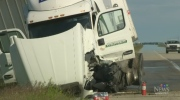 Van and semi collide on Manitoba highway