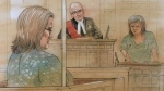Elizabeth Wettlaufer sits in court while Sara Silcox reads a victim impact statement ahead of the former nurse's sentencing on June 26, 2017. (Sketch by John Mantha)