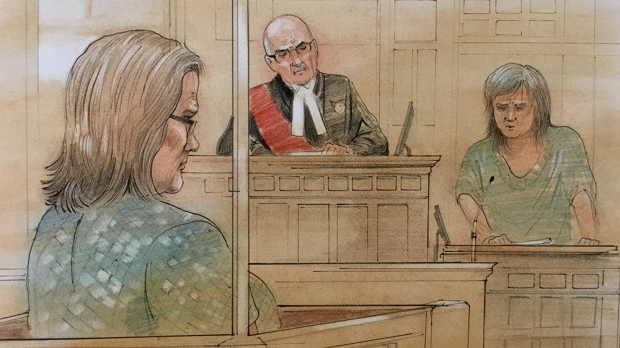 Elizabeth Wettlaufer is seen in this court sketch, Monday, June 26, 2017. (CTV News)