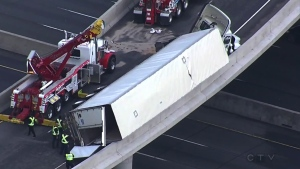 Truck rollover on Highway 401