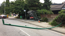 Hit-and-run mangles North Vancouver bus stop