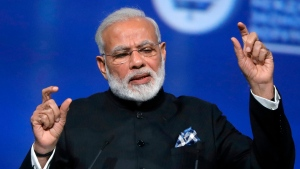 In this June 2, 2017, file photo Indian Prime Minister Narendra Modi speaks in St. Petersburg, Russia. Modi will meet U.S. President Donald Trump for this first time Monday. (Mikhail Metzel/TASS News Agency Pool Photo via AP)