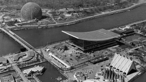 The U.S. Pavilion, the sphere at upper left, is just across the canal from the USSR pavilion at right centre with the curved roof at Expo '67, April 16, 1967. ({THE CANADIAN PRESS/stf)