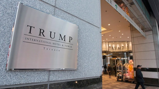 The entrance to the Trump International Hotel and Tower is shown in Toronto, Wednesday, Dec.9, 2015. (THE CANADIAN PRESS/Graeme Roy)