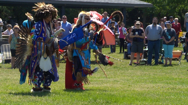First Nations dancers celebrate Aboriginal Day belatedly in St. Albert, Alta. on June 25, 2017.