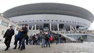 Spectators visit the new soccer stadium on Krestovsky Island in St. Petersburg, Russia on Feb. 11, 2017. (Dmitri Lovetsky/AP)