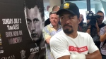 Manny Pacquiao speaks to the media in Brisbane, Tuesday, June 27, 2017. (John Pye/AP)