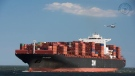 The Zim Antwerp arrives at the Port Newark-Elizabeth Marine Terminal on Monday. The massive container ship is set to arrive in Halifax on Thursday.(The Seamen's Church Institute/Facebook)