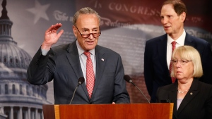 Senate Minority Leader Chuck Schumer, D-N.Y., left, joined by Sen. Patty Murray, D-Wash., and Sen. Ron Wyden, D-Ore., speaks during a news conference on Capitol Hill in Washington, Monday, June 26, 2017, about the Senate Republicans health care bill. (AP / Carolyn Kaster)