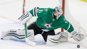 Dallas Stars goalie Antti Niemi (31) blocks an Arizona Coyotes shot during the third period of an NHL hockey game in Dallas, Tuesday, April 4, 2017. (LM Otero/THE CANADIAN PRESS/AP Photo)