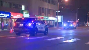 Police on the scene of a collision in the area of Jasper Ave. and 115 St. early Tuesday, June 27, 2017.