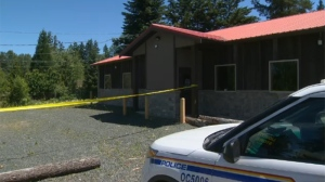 Mounties were seen combing over an area near the Frontiersman Bar and Grill on the Alberni Highway as early as 7 a.m., according to witnesses. June 26 ,2017. (CTV Vancouver Island)