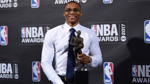 Kia NBA Most Valuable Player, Best Style & Game Winner Award winner, Russell Westbrook, poses in the press room at the 2017 NBA Awards at Basketball City at Pier 36 on June 26, 2017, in New York. (Evan Agostini/Invision/AP)