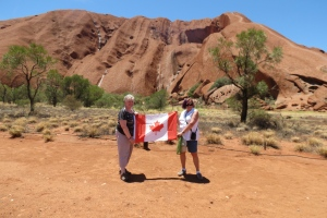 The Canadian flag goes with me on my journeys.  These were taken at Uluru, (previously known as Ayers Rock) Australia, Rotorua N.Z. and Matamata, N.Z. (Joan McKinnon / MyNews)